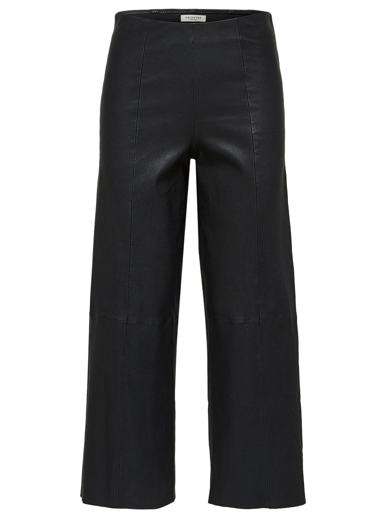 SELECTED Cropped – Leather Trousers Kvinna Svart