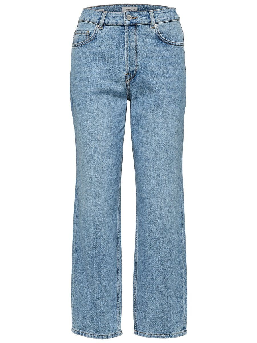 SELECTED Höga – Straight Fit-jeans Kvinna Blå