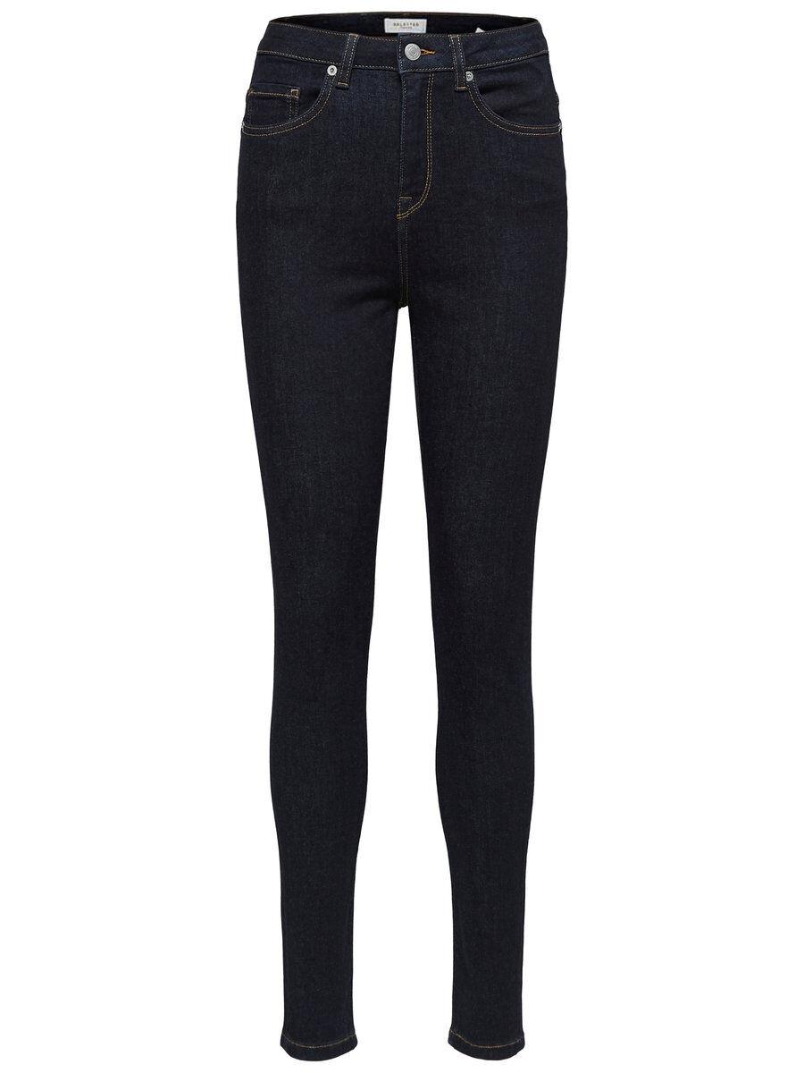 SELECTED High Waist – Skinny Fit-jeans Kvinna Blå