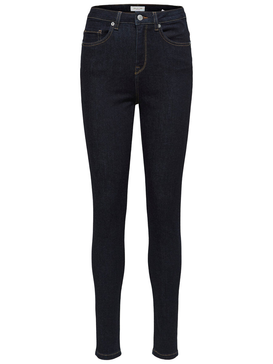 SELECTED High Waist – Skinny Fit-jeans Kvinna Blå