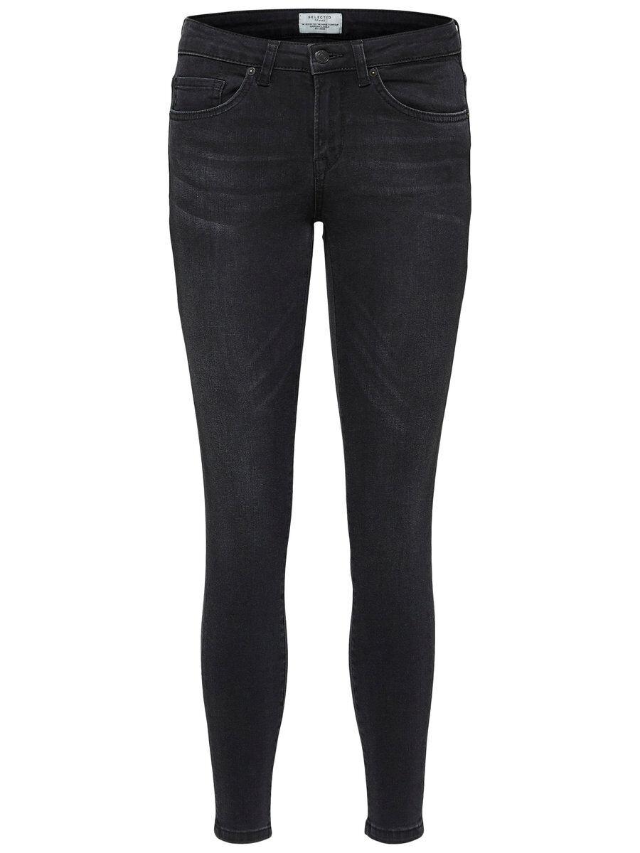 SELECTED Mid Waist – Slim Fit-jeans Kvinna Svart