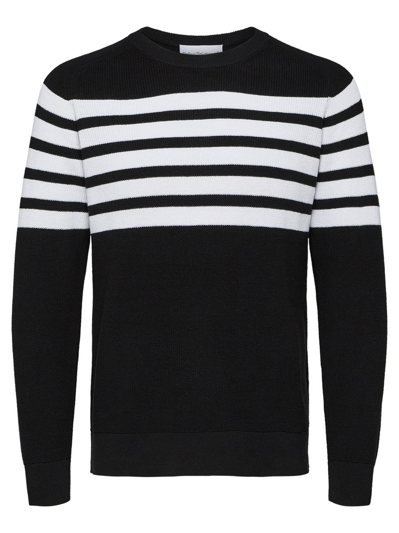 SELECTED Organic Cotton Striped – Knitted Pullover Man Svart