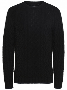 SELECTED Your Classic Cable Pullover Man Svart