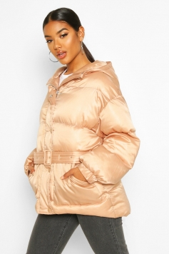 Satin Belted Puffer Jacket, Beige