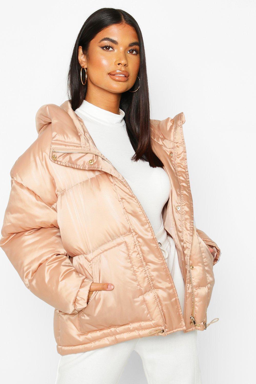 Satin Hooded Puffer Jacket, Beige