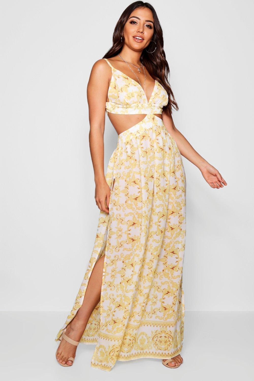 Scarf Print Cut Out Maxi Beach Dress, White