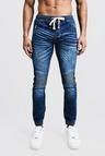 Skinny Fit Biker Jeans With Cuffed Hem