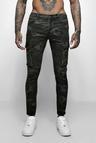 Skinny Fit Camo Biker Jeans With Cargo Pockets