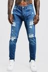Skinny Fit Rigid Jeans With Distressed Knees