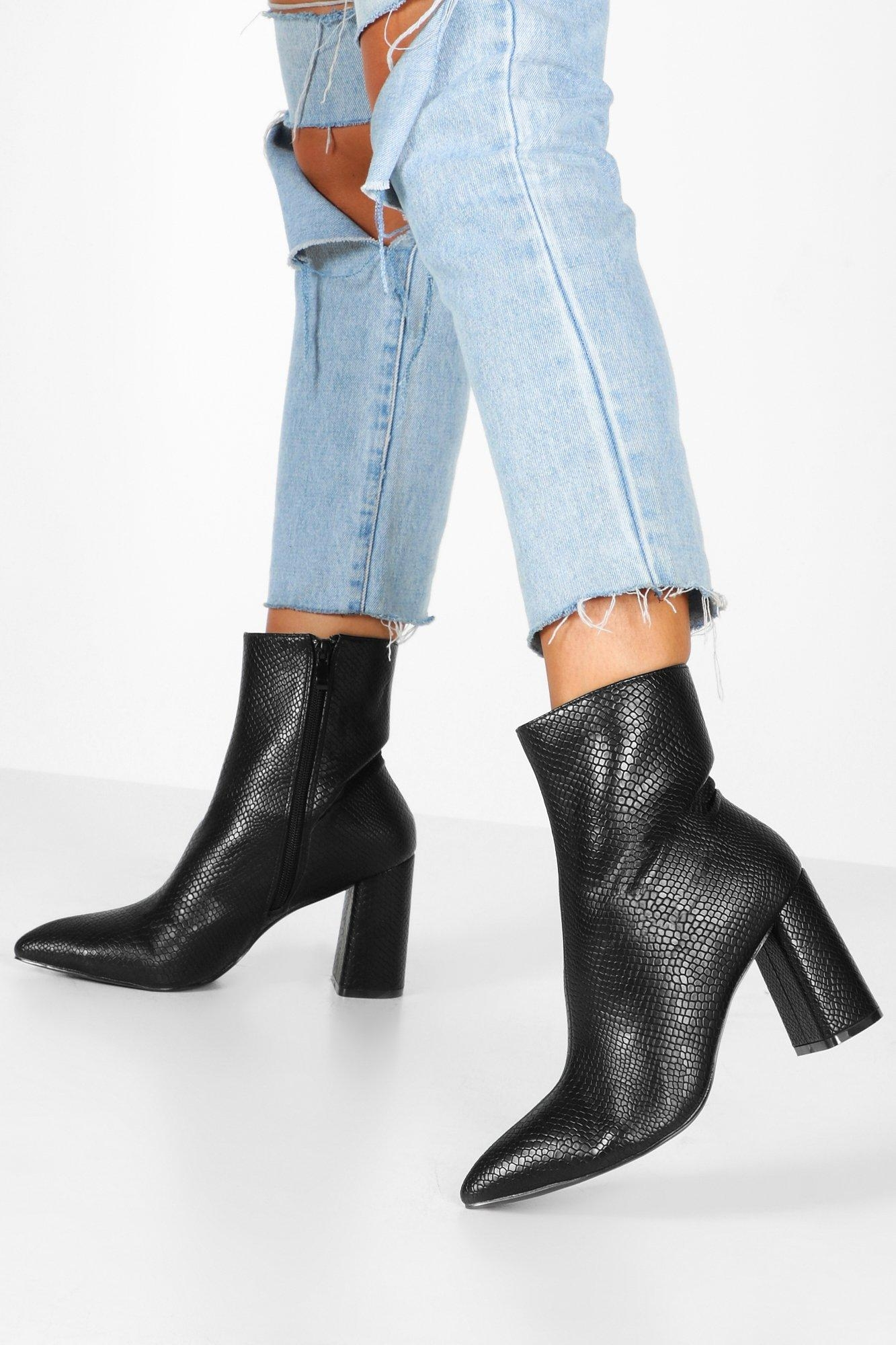 Snake Detail Pointed Sock Boots, Black