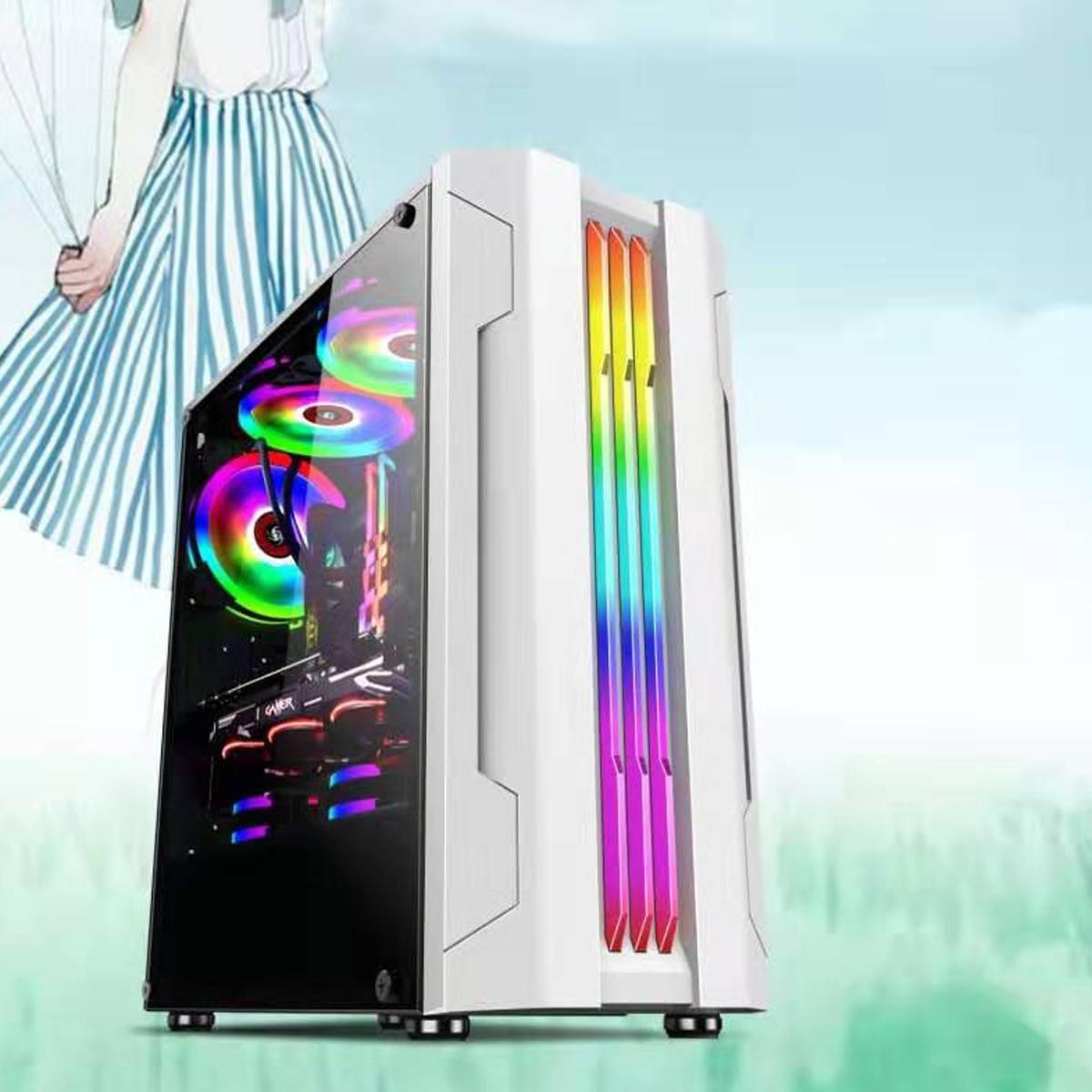 Spelväska ATX dator PC-fodral med 280mm LED Rainbow Fan Desktop Computer Case Chassis RGB Light PC Case härdat glas