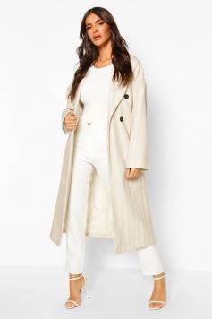Stripe Belted Wool Look Longline Coat, Beige