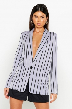 Stripe Tailored Blazer, Grey