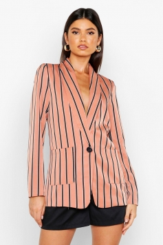 Stripe Tailored Blazer, Pink
