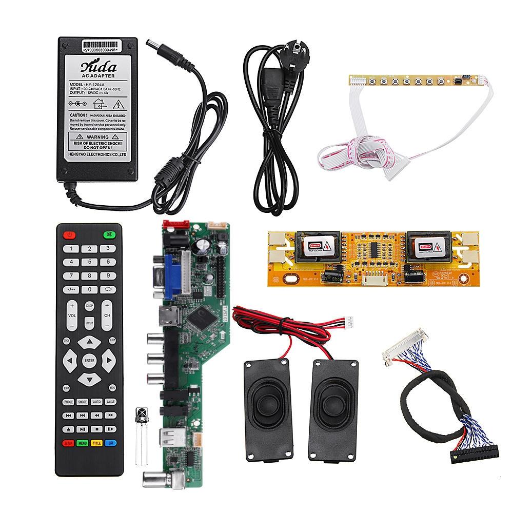 T.V53.03 Universal LCD LED TV Controller Driver Board +7 Nyckelknapp + 2ch 8bit 40Pins LVDS Kabel + 4 st Lampinverterare