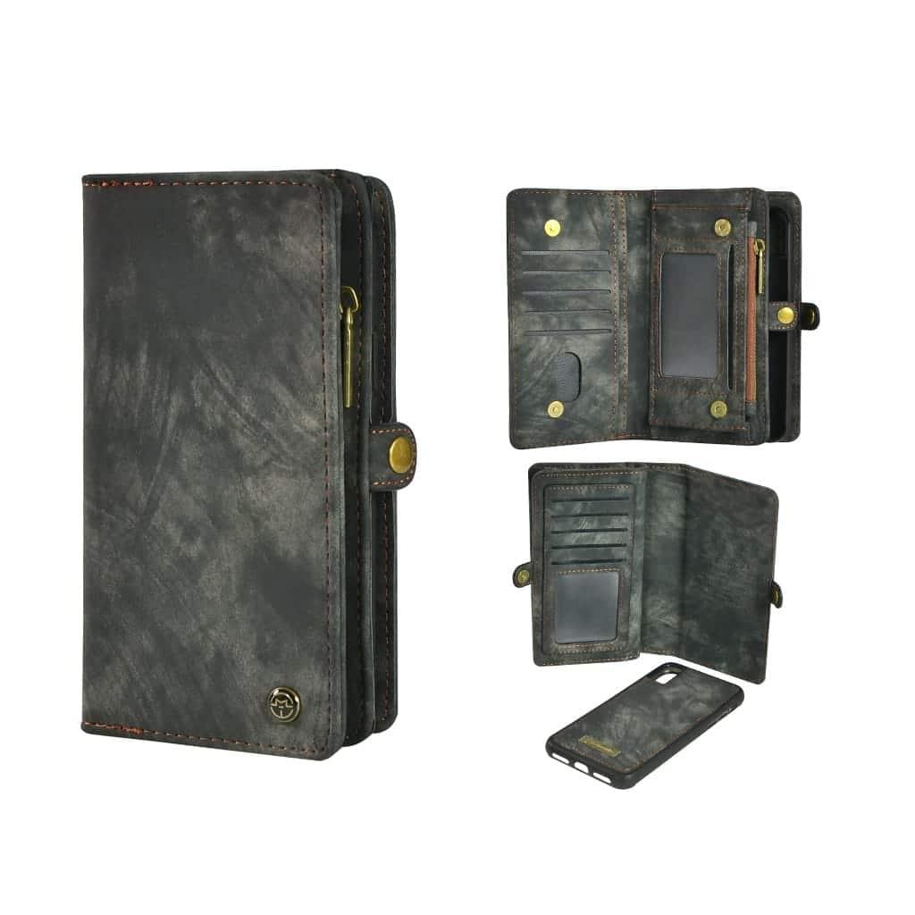 TONIMPORT Plånboksfodral/väska till iPhone XR 10 kort Svart