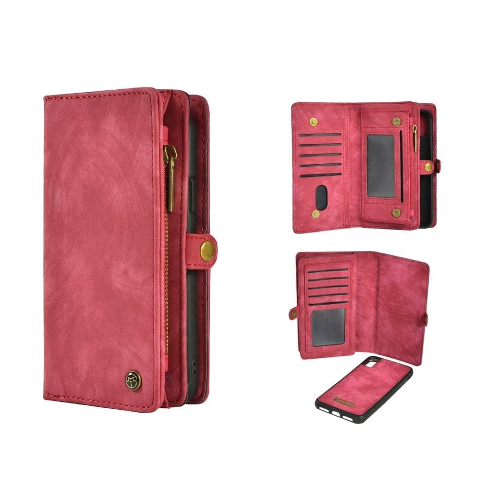 TONIMPORT Plånboksfodral/väska till iPhone XS MAX 10 kort Cerise