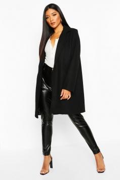 Tailored Wool Look Coat, Black