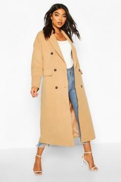 Tall Double Breasted Longline Wool Coat, Beige