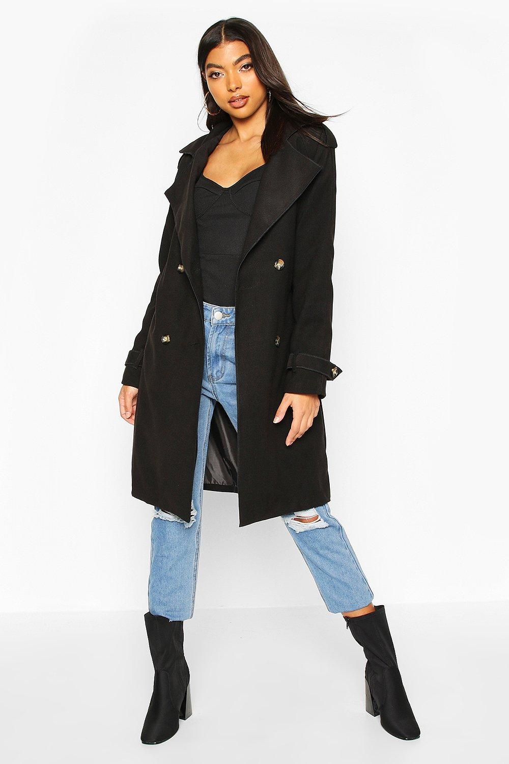 Tall Military Double Breasted Wool Look Coat, Black