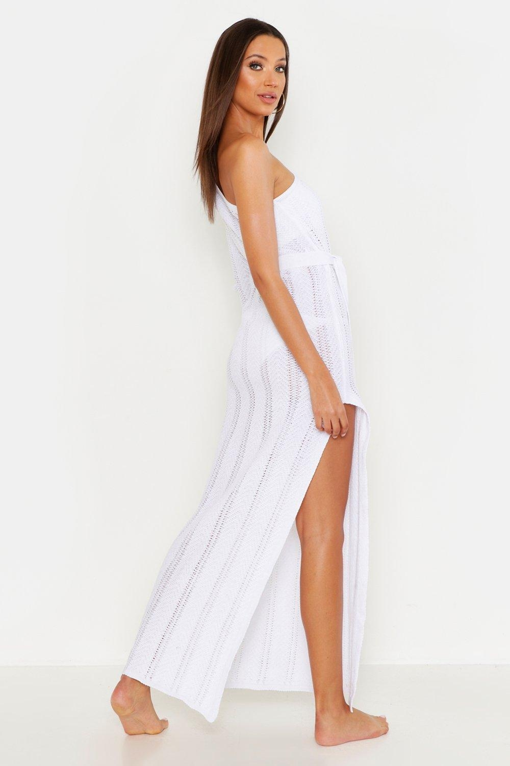 Tall One Shoulder Knitted Beach Dress, White