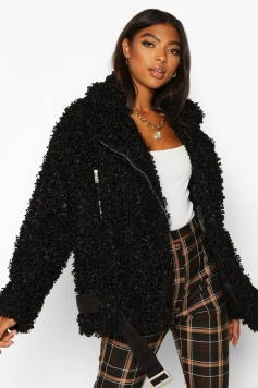 Tall Teddy Faux Fur Belted Aviator, Black