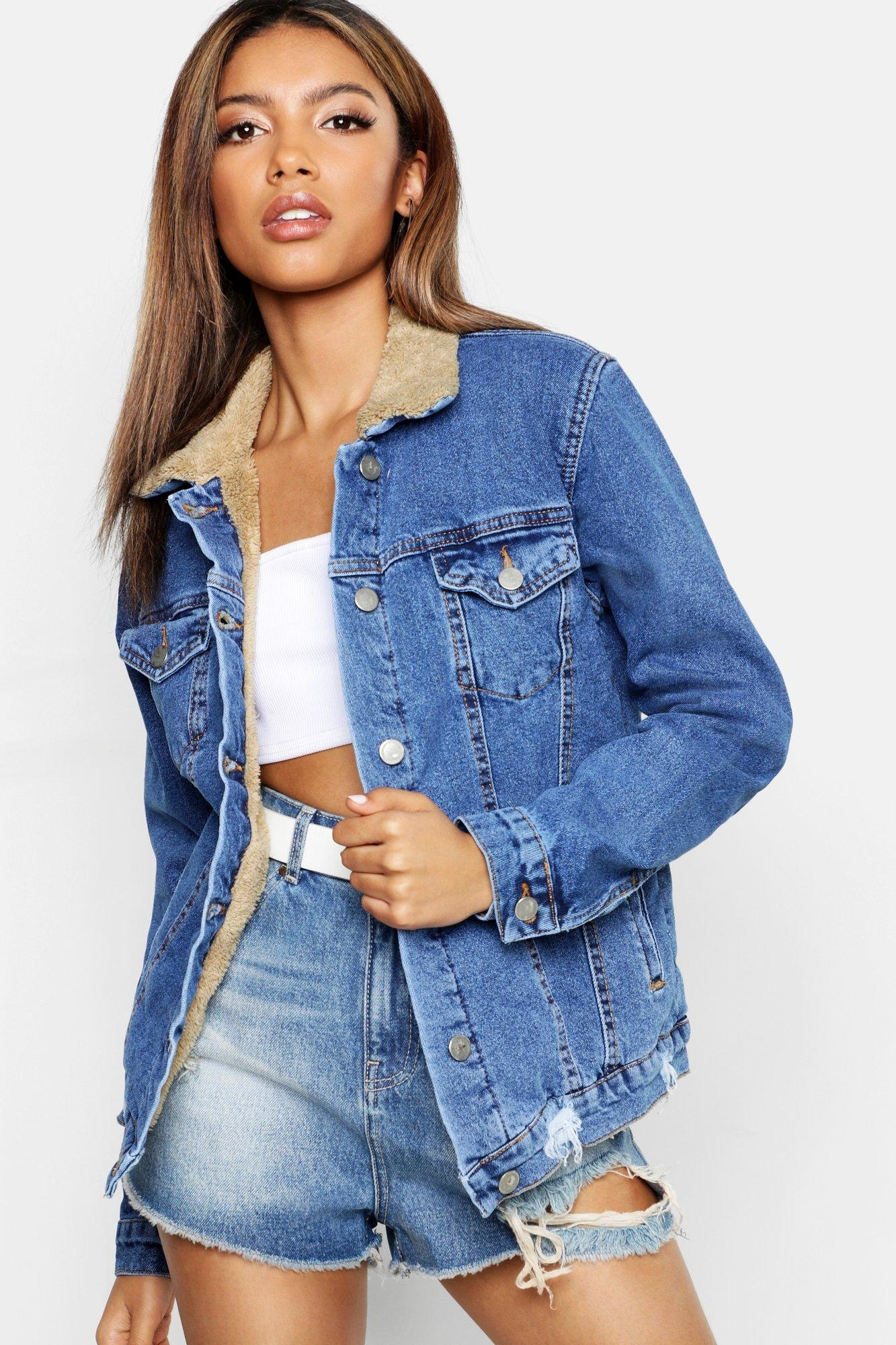 Teddy Lined Denim Trucker Jacket, Blue