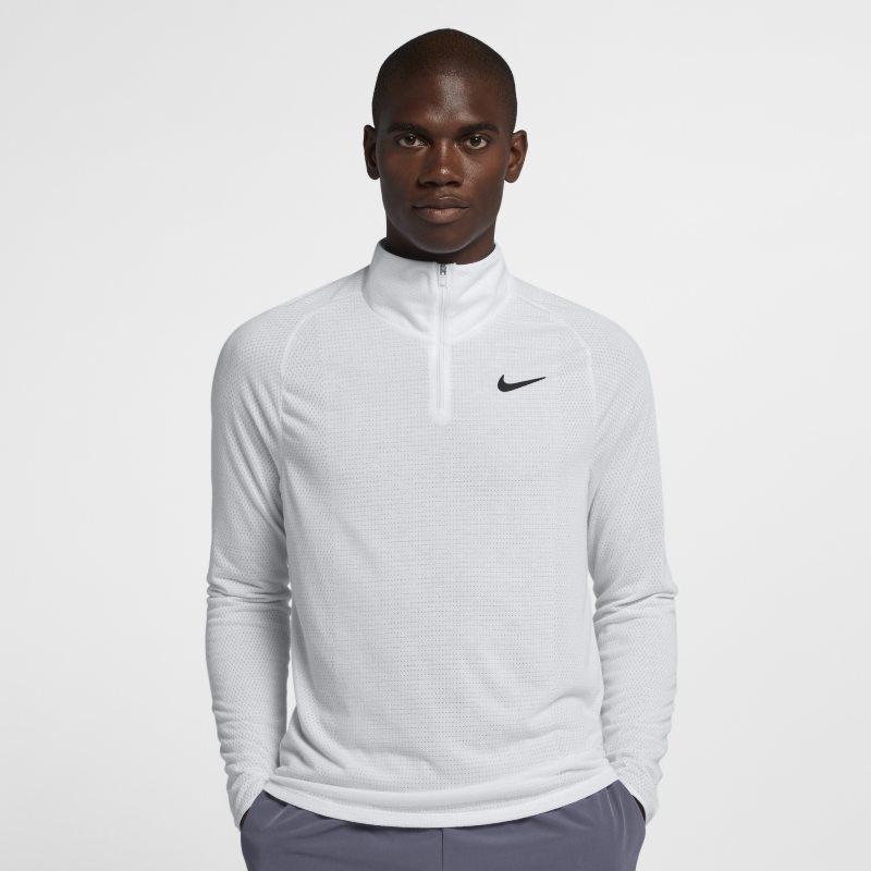 Tenniströja NikeCourt Dri-FIT Challenger med halv dragkedja för män – Vit