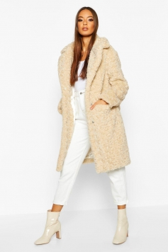 Textured Faux Fur Collared Coat, White