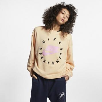 Tröja med rund hals i frotté Nike Sportswear NSW för kvinnor - Cream