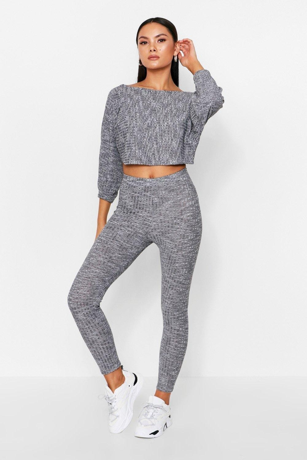 Twist Back Rib Lounge Set, Grey