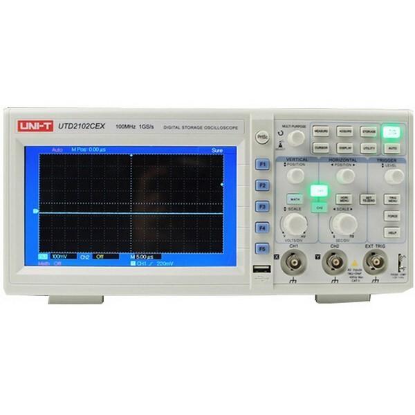 UNI-T UTD2102CEX Digital 2 kanaler 1G 100MHz 7 tum TFT LCD-lagringsoscilloskop