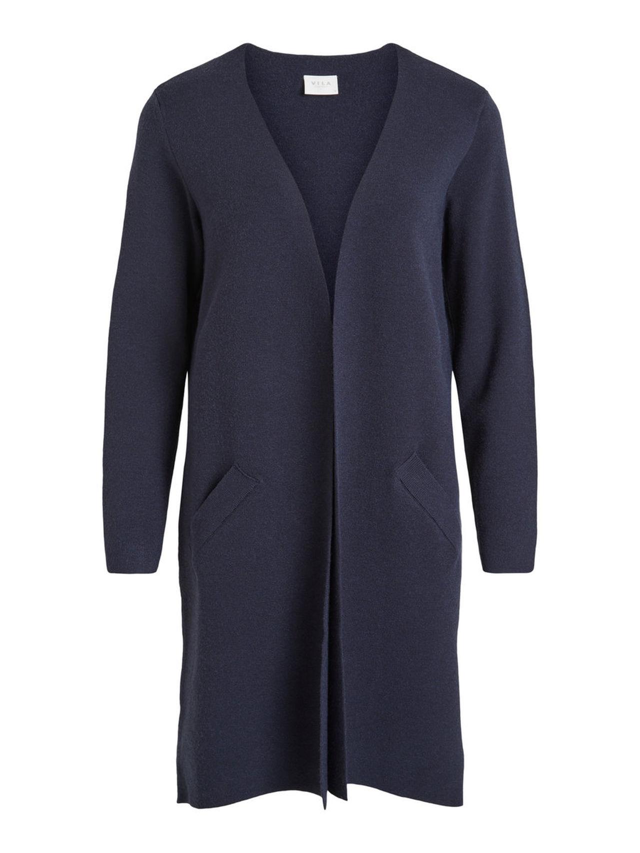 VILA Long Knitted Cardigan Kvinna Blå