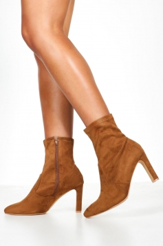 Wide Fit Flat Heel Sock Boots, Brown