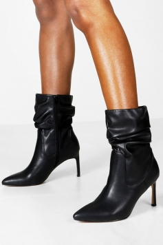 Wide Fit Rouched Calf High Boots, Black