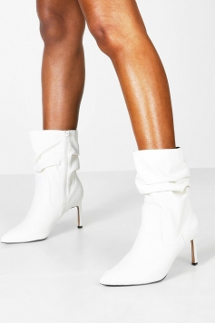 Wide Fit Rouched Calf High Boots, White