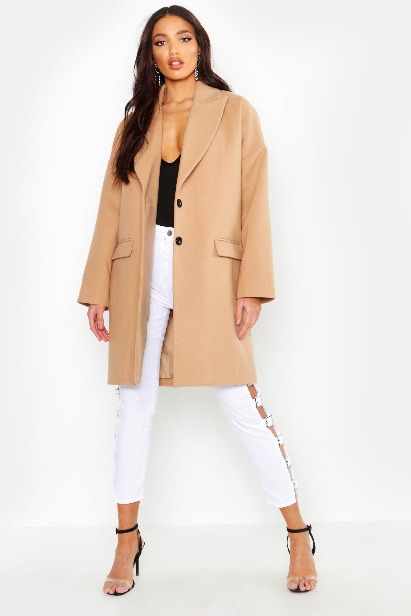 Wool Look Boyfriend Coat, Beige