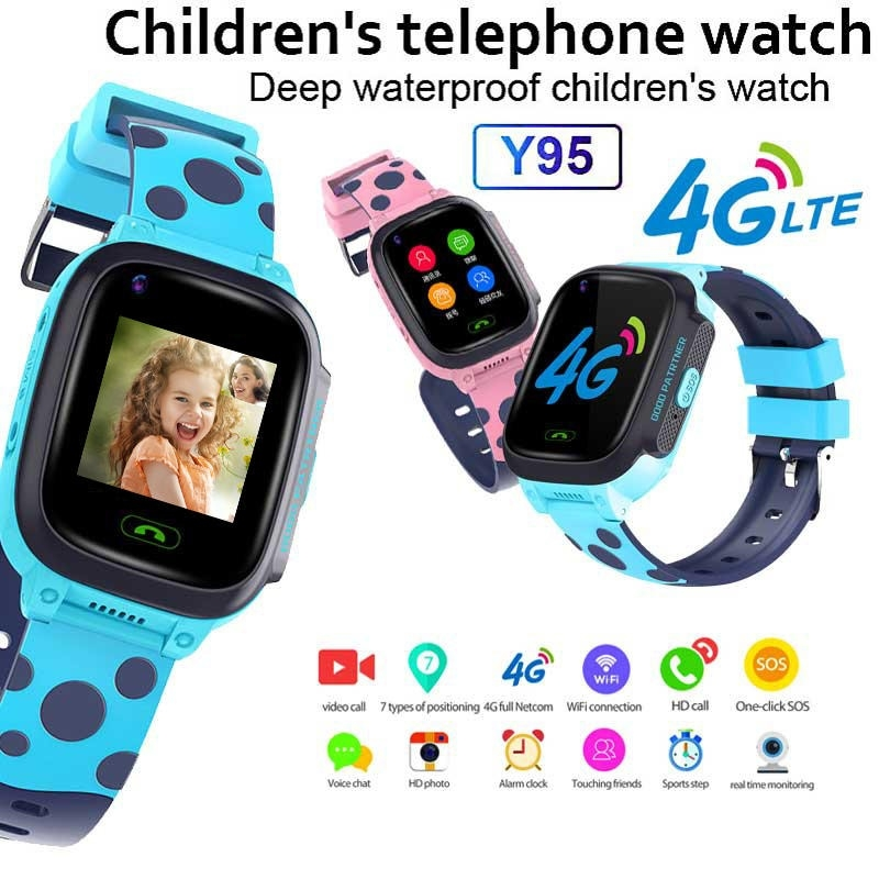 Y95 4G Smart Smart Watch-telefon GPS Vattentät Kids Smart Watch WiFi Anti-lost SIM Locator Tracker HD Videosamtal